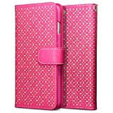 iPhone 6 Plus Case, Terrapin [Pink] [Etched Floral Pattern] Textured PU Leather Wallet Case with Card Slots ID Window Cash Compartment and Detachable Wrist Strap Case for iPhone 6 Plus - Pink