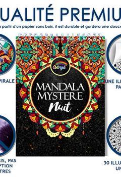 Livres Couvertures de Livre de Coloriage Adulte Fond Noir: Coloriage Mystere Mandala Adulte de Nuit, le Premier Cahier de Coloriage Mystère Adulte avec Papier Noir d'Artiste et Reliure Spirale par Colorya