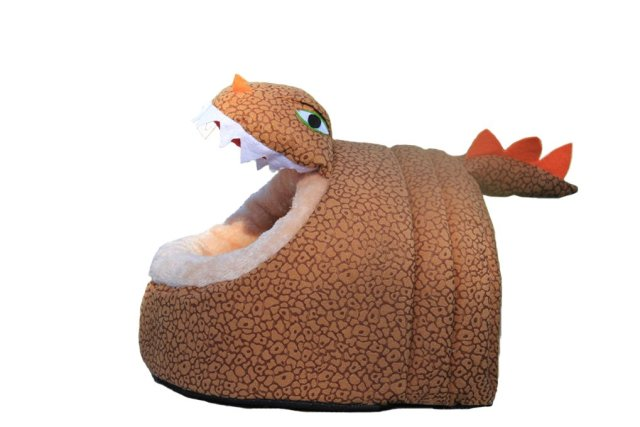 Cool Brown Dinosaur Pet House Warm Short Plush Animal Shape Dog Bed - Small Medium or Large