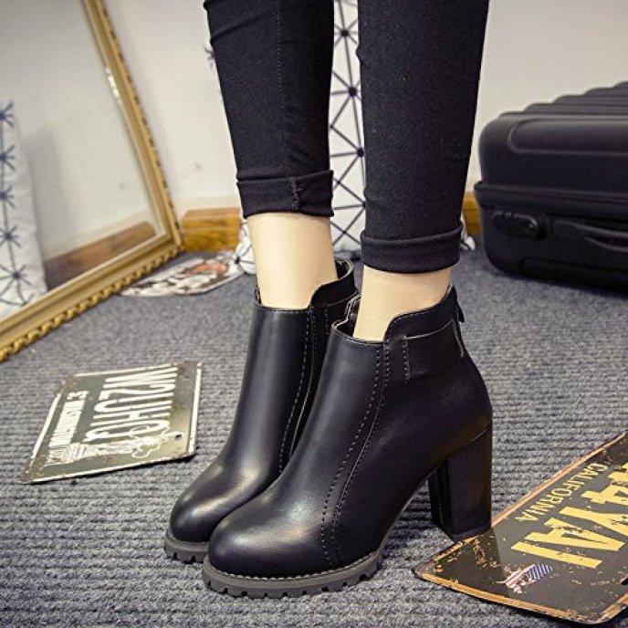 Spritech(TM) Women's Girls Fashion Non-slip Winter High Heel British Style Ankle Boot Leather Zip Boots Black