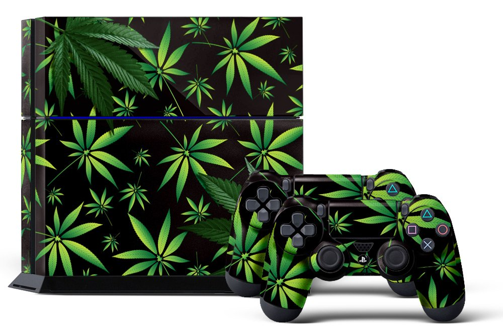PS4 Console Designer Skin for Sony PlayStation 4 System plus Two(2) Decals for: PS4 Dualshock Controller Weeds Black