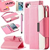iPhone 5S Case, Pandamimi ULAK PU Leather Wallet Case for Apple iPhone 5S 5 5G- AT&T Type Magnet Design Flip Stand Case Cover , T Mobile, Sprint, with / Wrist strap+Screen Protector+ Touch Stylus (Pink + White)