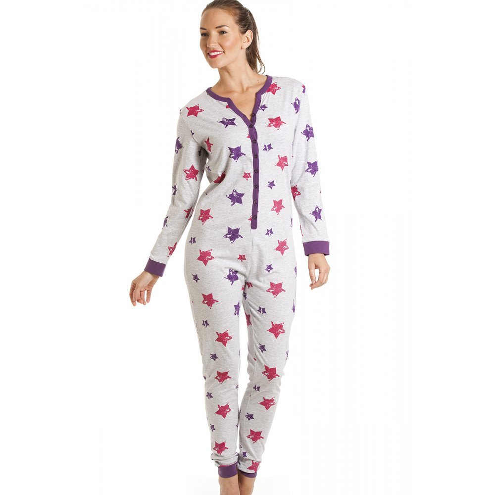 Womens Ladies Cotton All In One Star Print Onesie Pyjama