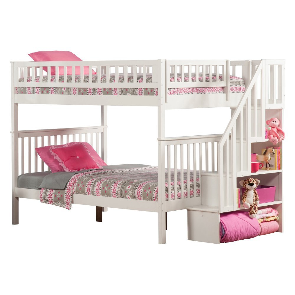 Woodland Staircase Bunkbed Full over Full with 2 Flat Panel Bed Drawers in White Finish