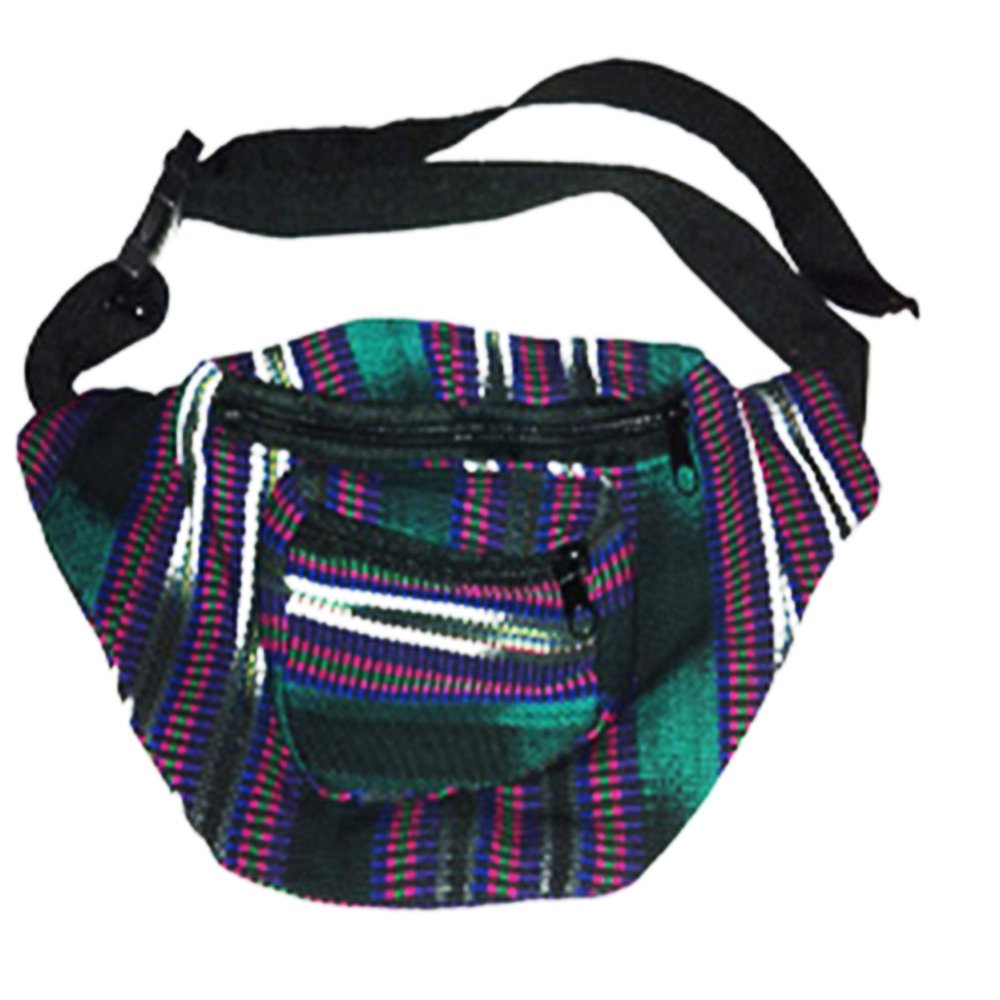 Green Fabric Fanny Pack Handmade in Guatemala