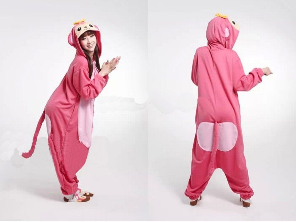 Pink Adults Costume Ladies Macaque Ladies Mens Cute Monkey Kigu