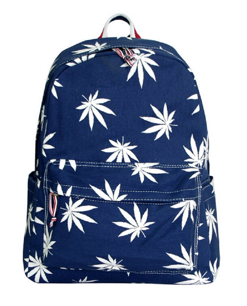 YOYOSHome® Unisex Cute Maple Leaf Weed Print Backpack School Shoulder Bag