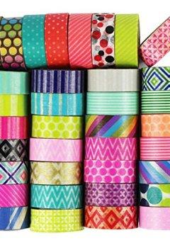 Livres Couvertures de UOOOM 10 rouleaux Washi Tape Ruban Adhésif Papier Décoratif Masking tape Scrapbooking (Pattern-1)