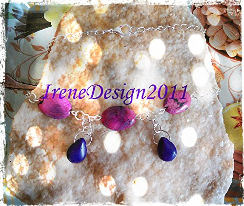 Silver Necklace with Rhodocrosite & Purple Howlite Drops