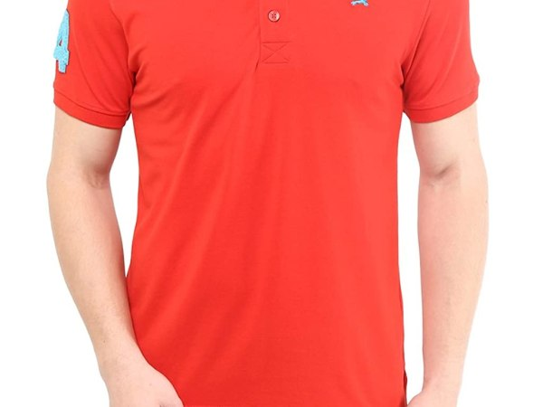 American Crew Men's Polo Collar With Number Applique T-Shirt (Red)