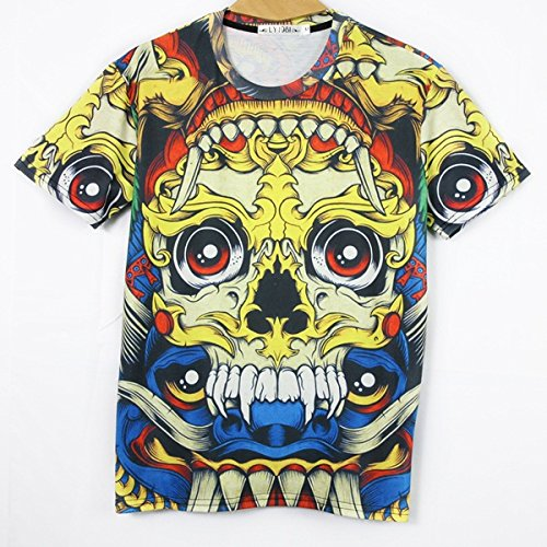 SkullSkeleton men short sleeve fashion 3d animal print slim t shirt