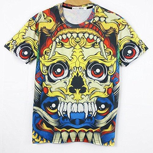SkullSkeleton men short sleeve fashion 3d animal print slim t shirt