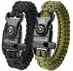 A2S-Paracord-Bracelet-K2-Peak-Series-Survival-Gear-Kit-with-Embedded-Compass-Fire-Starter-Emergency-Knife-Whistle-Pack-of-2-Quick-Release-Slim-Buckle-Design-Hiking-Gear