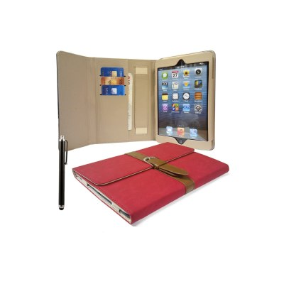 LOVE MY CASE / Apple iPad Mini / Stylish RED PU Leather Media Stand Case with Buckle + Stylus & Screen Protector / NEW
