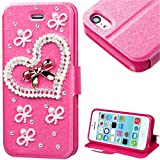 myLife Vibrant Pink {Pearl Hearts and Bows Design} Faux Leather (Card, Cash and ID Holder + Magnetic Closing) Slim Wallet for the iPhone 5C Smartphone by Apple (External Textured Synthetic Leather with Magnetic Clip + Internal Secure Snap In Hard Rubberized Bumper Holder)
