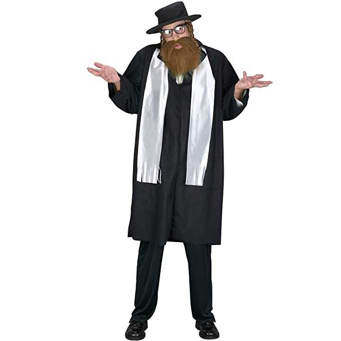 FunWorld Men's Adult Rabbi Costume, Black, One Size Costume