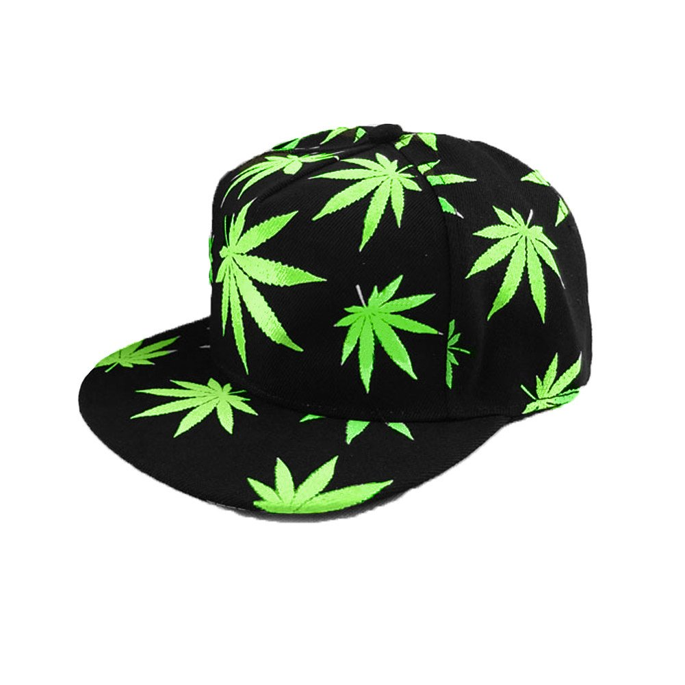 Anself Men Women Snapback Cap Hat Baseball Cap Leaves Print Luminous Glow Hip-Hop Cap