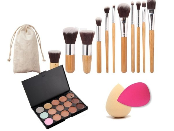 Imported 11 x Makeup Brush + 15-Color Concealer Palette + 2 x Cosmetic Sponge-54003210MG