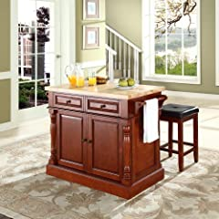 Crosley Furniture Butcher Block Top Kitchen Island in Cherry Finish with 24-Inch Cherry Upholstered Square Seat Stools