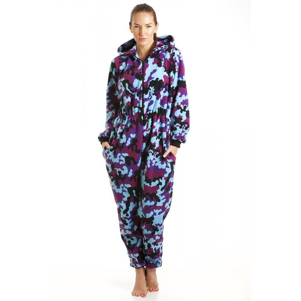 Womens Ladies All In One Pink And Blue Camo Hooded Fleece Pajama Onesie 6-20
