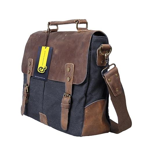 ECOSUSI Men's Vintage Genuine Leather Shoulder Messenger Laptop Briefcase Satchel Bag Fit 14 inch Laptop, Gray