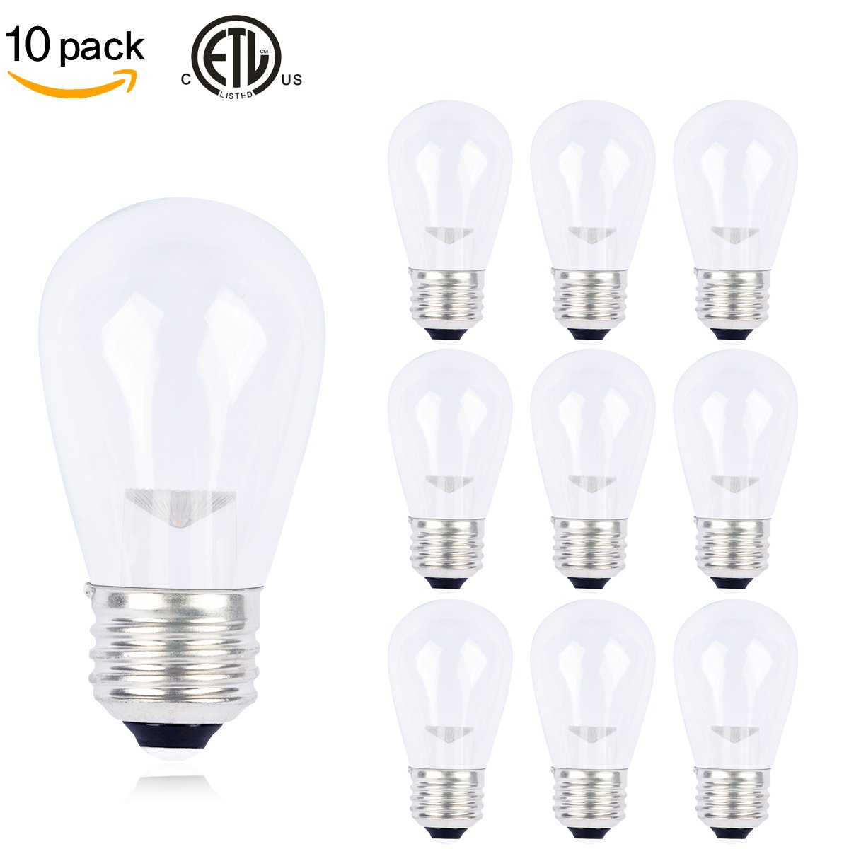 10 Pack Slz S14 Led Bulbs Clear Glass Warm White K E26 Base 0 7w Led Bu