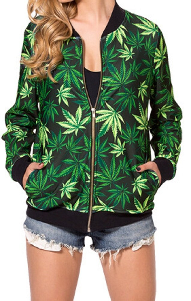 Sexy Ladies Hip Hop Dance Club Green Weed Jacket