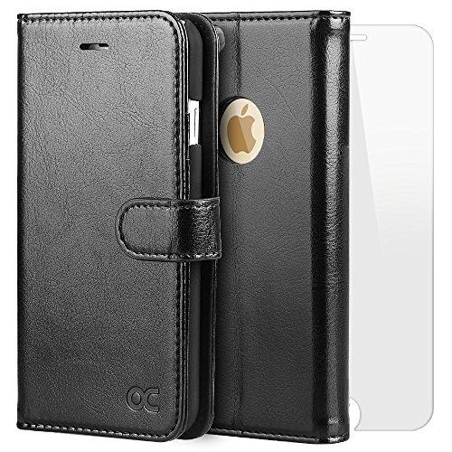 iPhone6s ケース / iPhone6 ケース OCASE 手帳型ケース 「強化ガラスフィルム付き」 財布型 スタンド機能 マグネット式 カード収納 ポケットホルダー付き ブラック