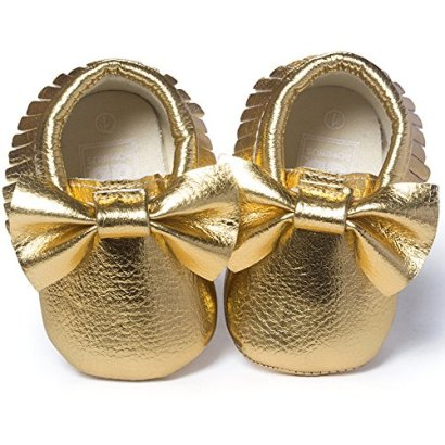 DESDEMONA-Bow-PU-Leather-Baby-Boy-Girl-Infant-Toddler-Pre-walker-Crib-Shoes-S49inches-Bright-gold
