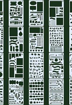 Livres Couvertures de Pochoirs à Dessin,Cymax 20 Pièces Pochoir Bullet Journal plus de 1000 différents modèles,Plastique Planner Pochoir pour Journal, Scrapbook, DIY et projets artistiques,10,2 x 17,8 cm