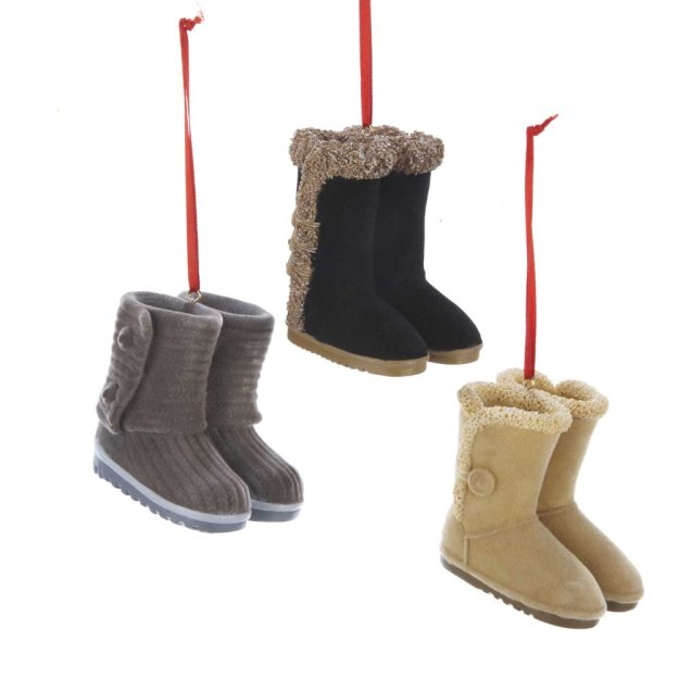 Set of 3 Resin Flocked Boots Ornaments