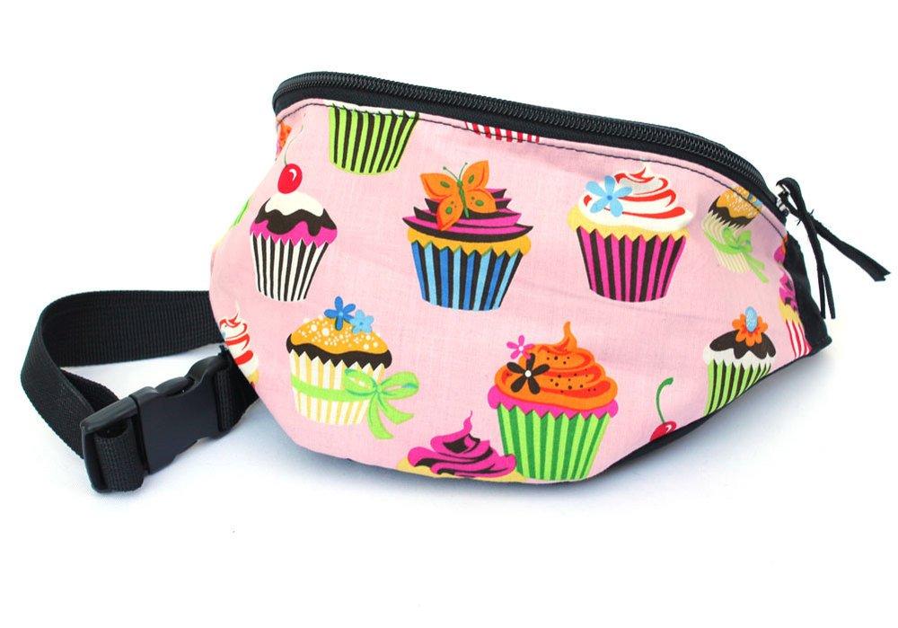 Chira Designs Pink Cupcakes fabric Fanny Pack - Waist Bag