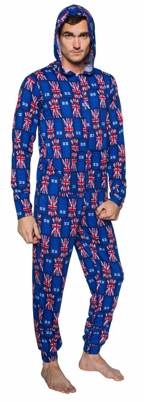 Doctor Who One Piece Tardis British Flag Adult Pajamas
