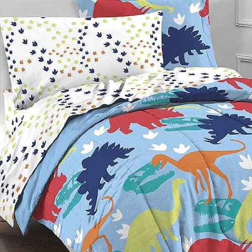 Dinosaur Prints Multicolor 5 Piece Twin Comforter Set