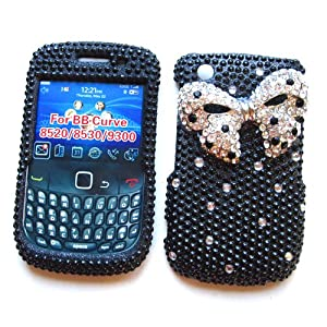 "BlackBerry Curve 3G 9300 9330 & Gemini Curve 8520 & 8530 Snap-on Protector Hard Case Rhinestone Cover ""Silver Ribbon"" Design"