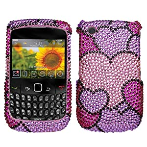 Blackberry Curve 8520 / 8530 / 9300 / 9330 Diamante Protector Cover - Cloudy Hearts