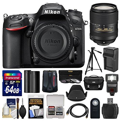 Nikon D7200 Wi-Fi Digital SLR Camera Body with 18-300mm VR Lens + 64GB Card + Case + Flash + Battery/Charger + Tripod + Kit