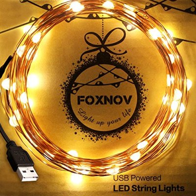 FOXNOV-164-Feet-Waterproof-USB-LED-String-Lights-Warm-White-Pack-of-2