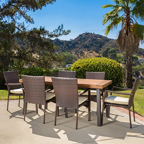 Castlelake Outdoor Patio Furniture 7 Piece Dining Set w/ Cushions (Wood Table w/ Wicker Chairs)