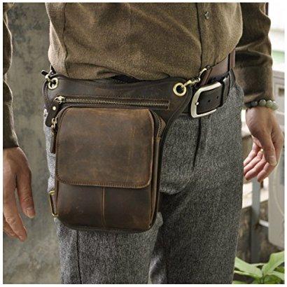 Leaokuu-Mens-Genuine-Leather-Messenger-Riding-Hip-Bum-Waist-Pack-Drop-Leg-Cross-Over-Bag-Dark-Brown