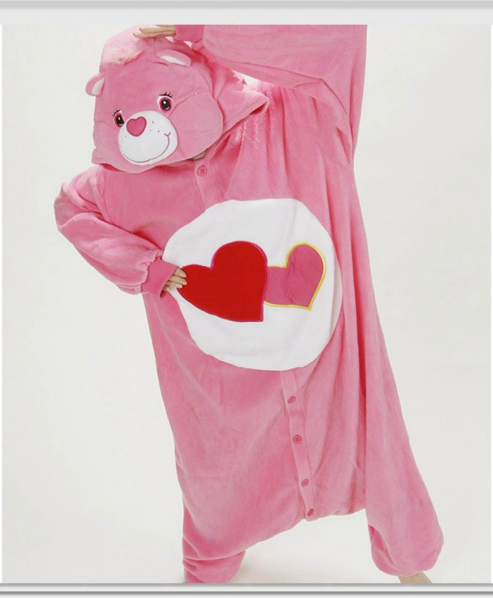 Adult Women's Lady Cartoon Fleece pink love bear