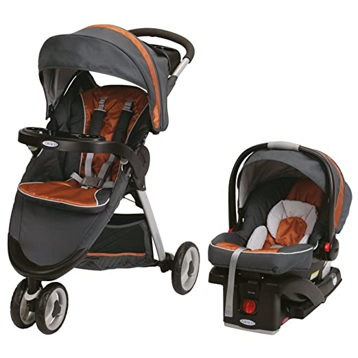 Graco FastAction Fold Sport Stroller Click Connect Travel System, Tangerine