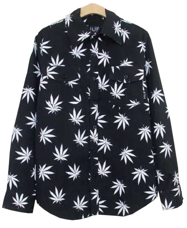 Unisex Hip Hop Marijuana Print Button-Down Shirt
