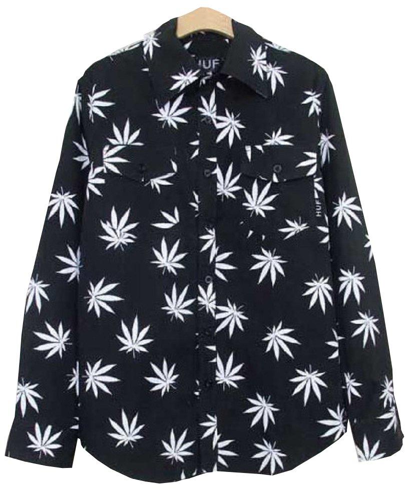 Unisex Hip Hop Marijuana Print Button-Down Shirt