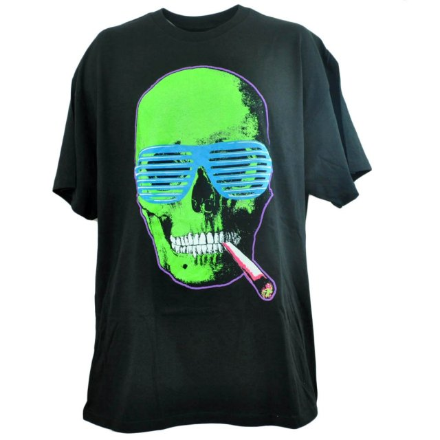 Spencers Men's Graphic Skull Smoking Glasses Joint Neon T-Shirt