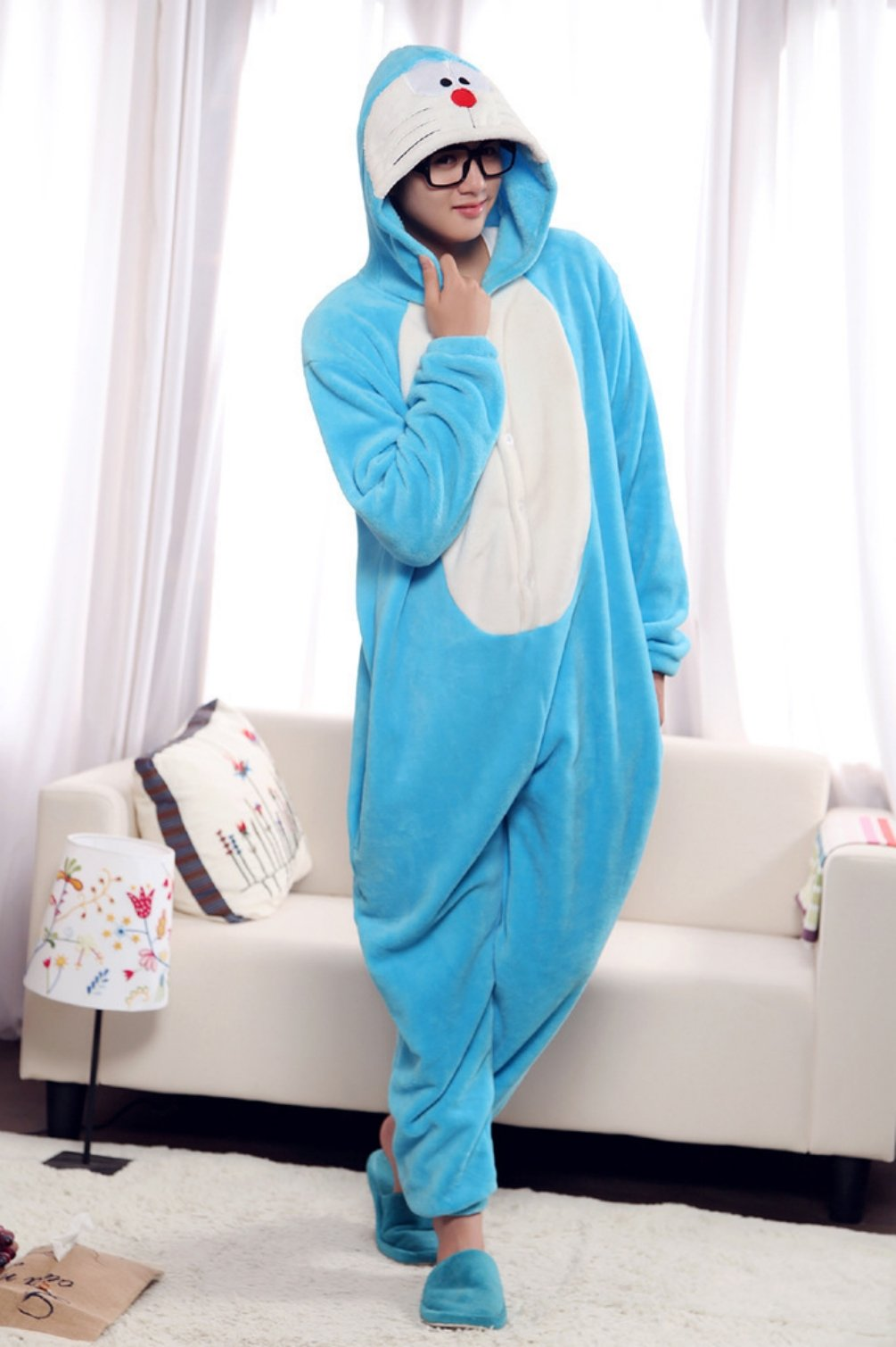 Winter Doraemon Pajamas Cosplay Costume Footed Sleepwear For Women Men Kigu