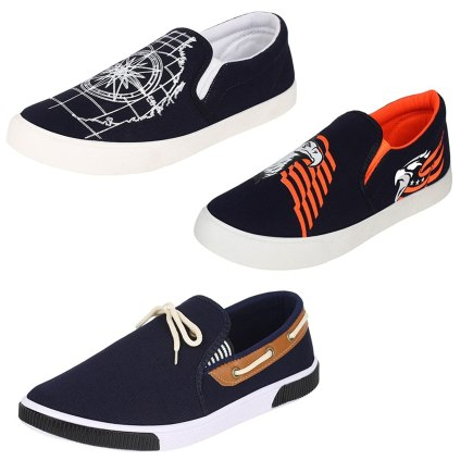 Super Men Canvas Blue Combo Pack of 3 Loafers & Moccasins