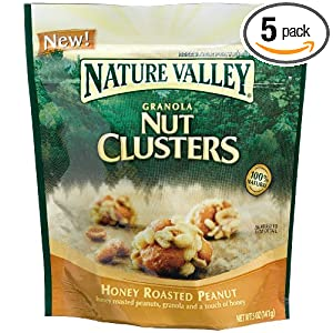 Nature Valley Granola Nut Clusters, Honey Roasted Peanut, 5-Ounce Pouches (Pack of 5)