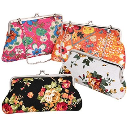 BMC-4-pack-Womens-Floral-Design-6-Canvas-Embroidery-Style-Coin-Wallet-Pouch