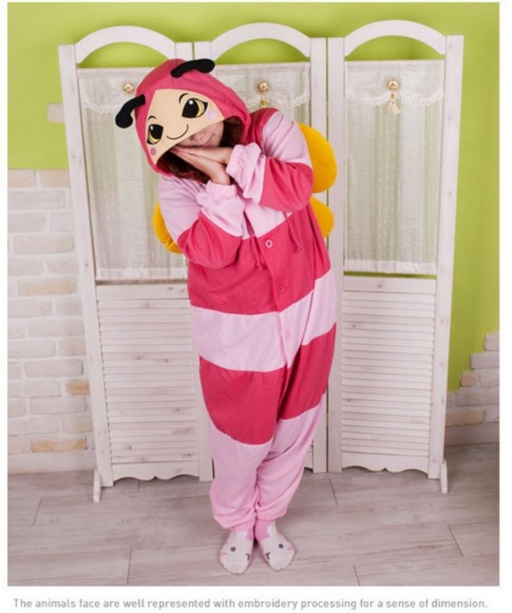Adult Unisex Animal Pink Bee Pajamas Sleepsuit Cosplay Sleepwear Sleep Dress  Up